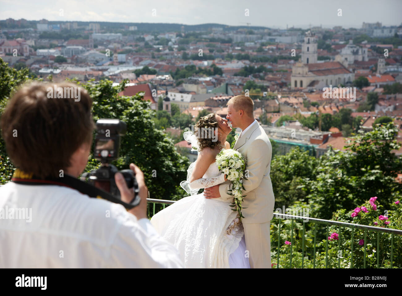 LTU Lithuania Capital Vilnius Wedding photo shooting on Kalnu hill - Stock Image