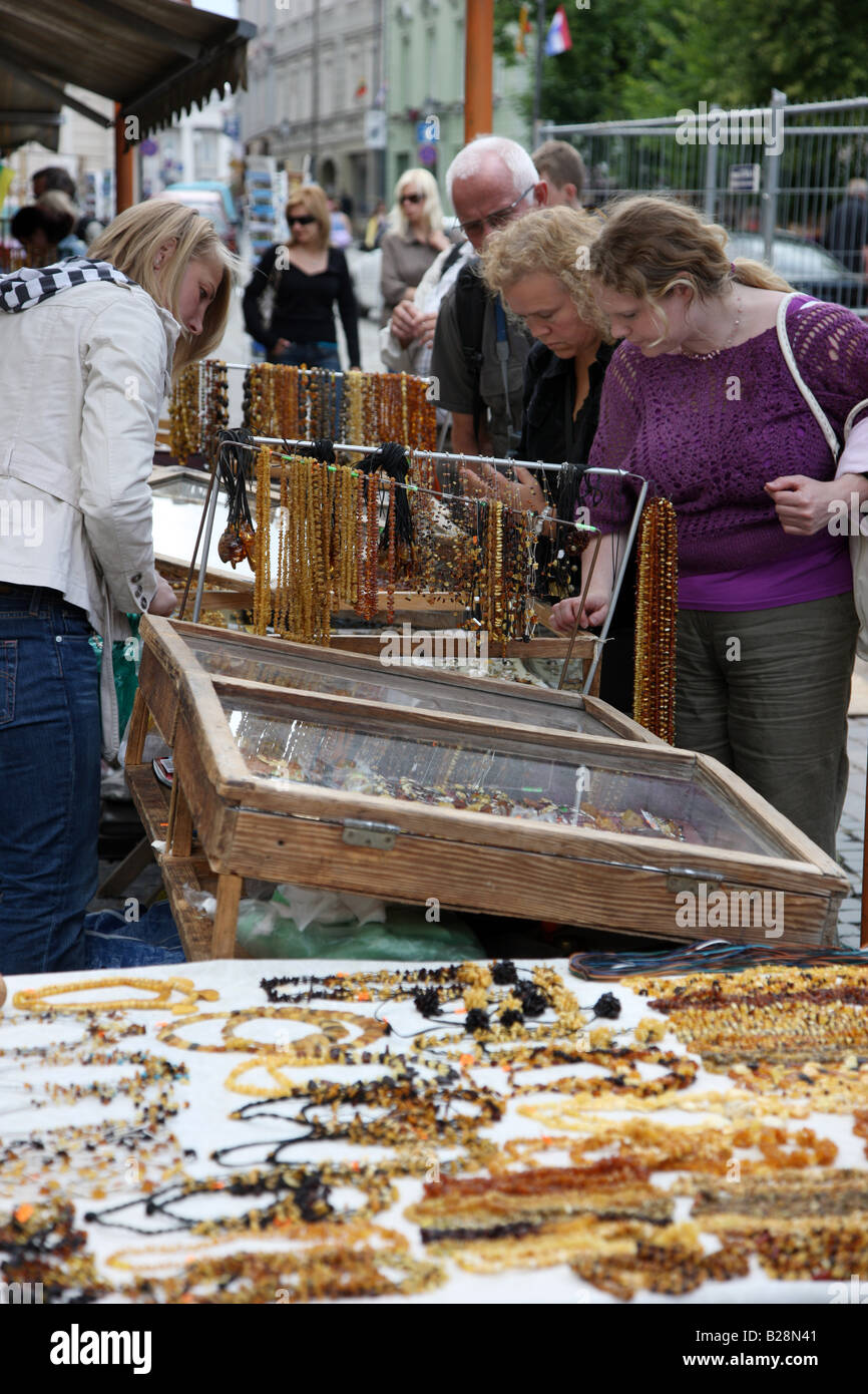 LTU Lithuania Capital Vilnius Amber sale stand in the oldtown - Stock Image