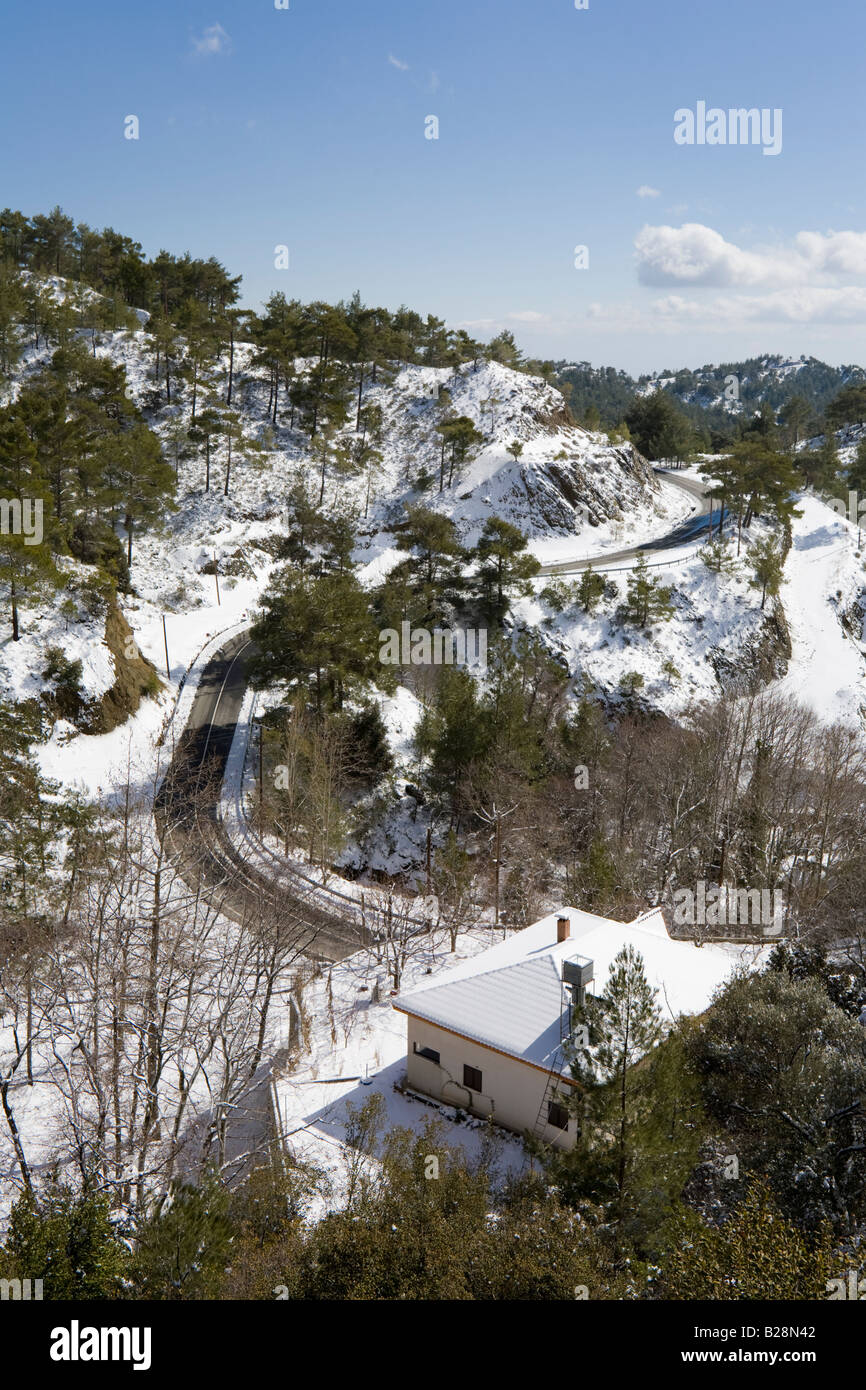 Snow on the Troodos Massif at Pano Platres, Cyprus - Stock Image