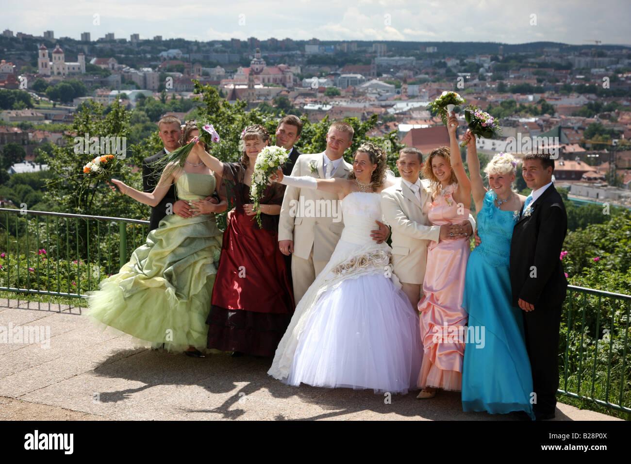 LTU Lithuania Capital Vilnius Wedding photo shooting on Kalnu hill Stock Photo