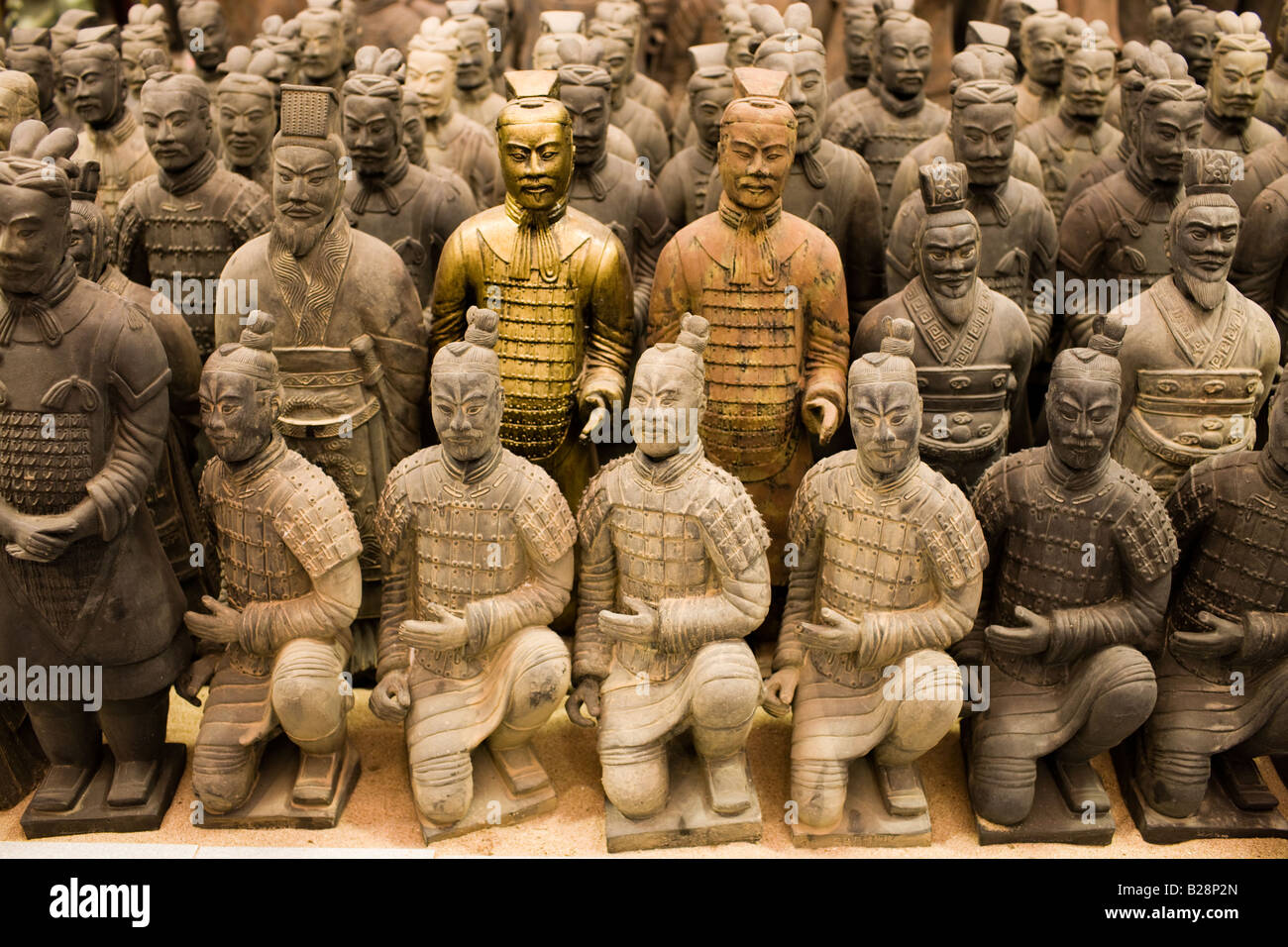 Terracotta Warrior souvenirs being made in factory Xian China Stock Photo