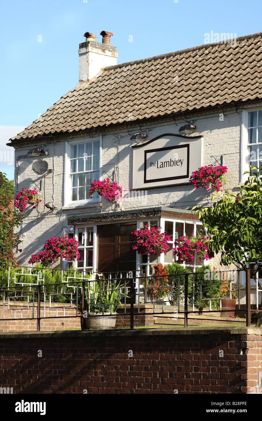 An English village pub.The Lambley in the village of Lambley, Nottinghamshire,  England, U.K. - Stock Image