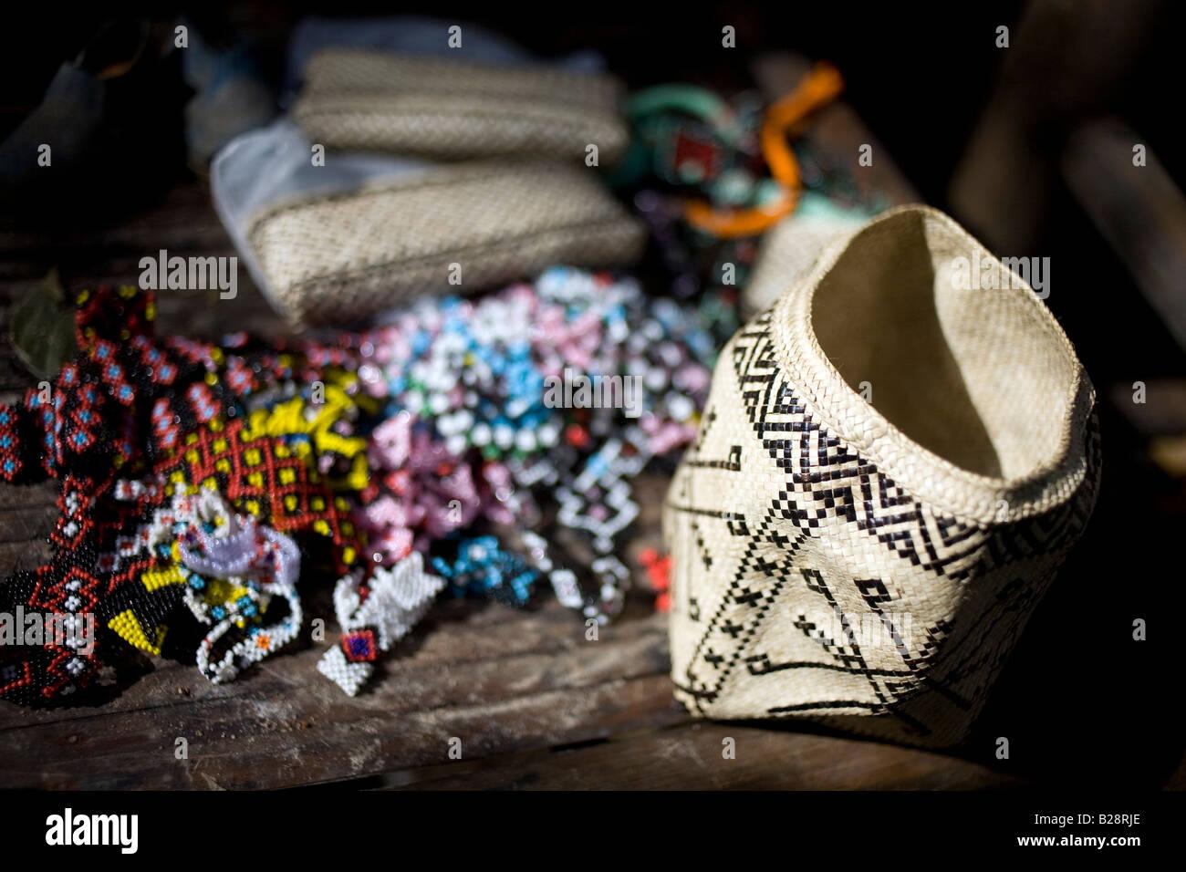 Mangyan crafts created in the Panaytayan community near Mansalay, Oriental Mindoro, Philippines. - Stock Image