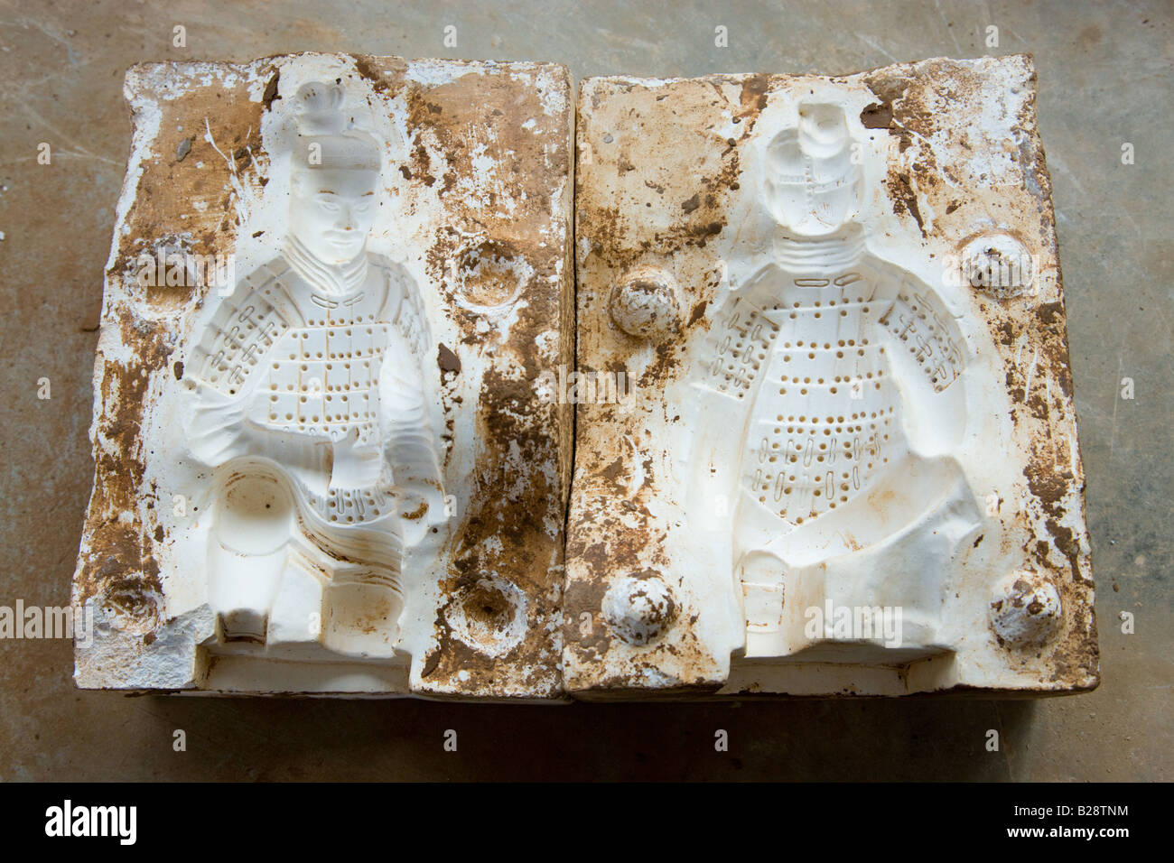 Mould used to make Terracotta Warriors souvenirs in factory Xian China - Stock Image