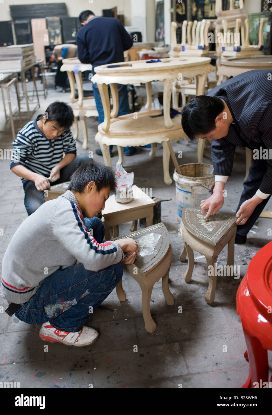 craftsmen furniture. Marquetry Craftsmen At Work On Lacquer Tables Souvenir And Furniture Factory Xian China Y