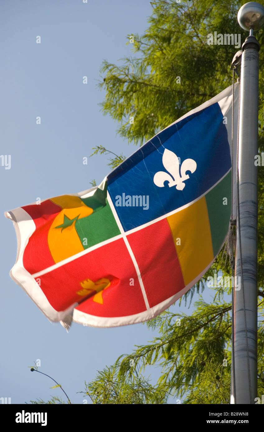 Acadian flag, Lafayette, Louisiana Stock Photo