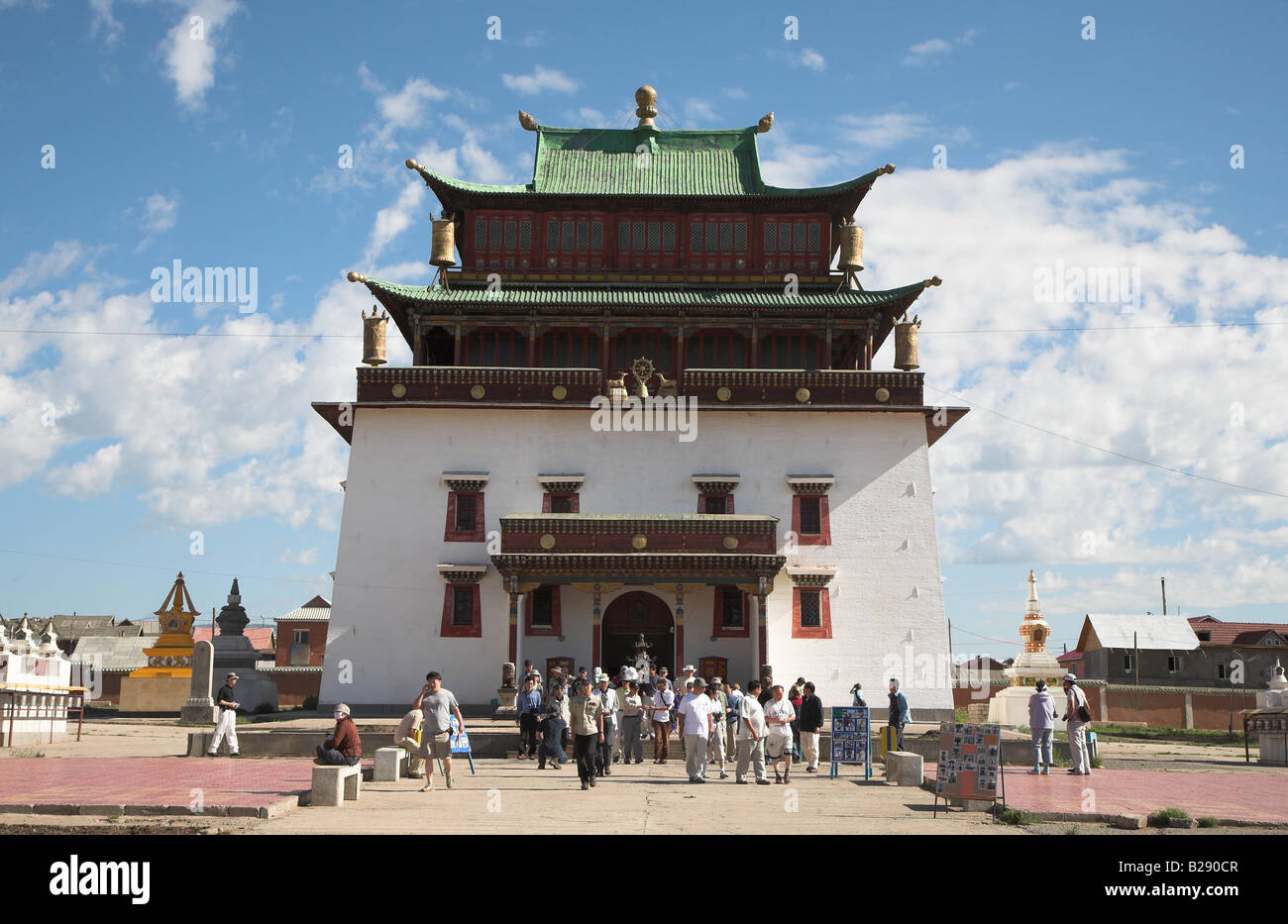 Gandantegchinlen Khiid Monastry in Ulaan Baatar Mongolia - Stock Image