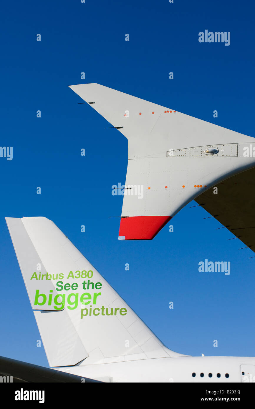 Airbus A380 aircraft wing winglets Copy Space - Stock Image