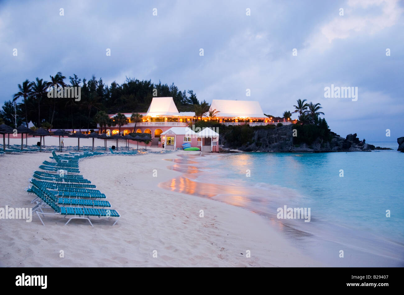 The beach of the Fairmont Southampton hotel Southampton Parish Bermuda - Stock Image