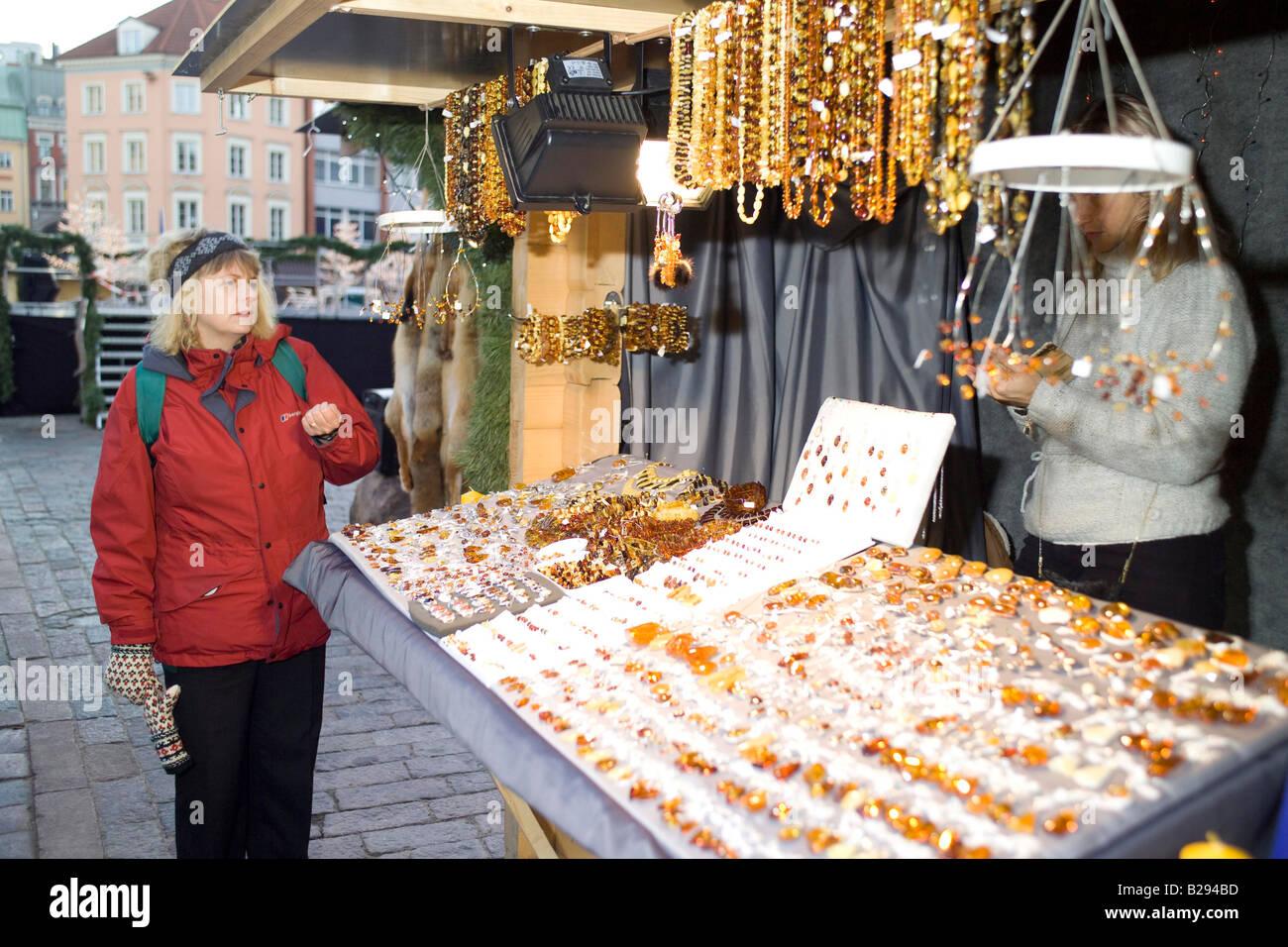Christmas Market Riga Latvia Date 11 02 2008 Ref ZB693 110474 0157 COMPULSORY CREDIT World Pictures Photoshot - Stock Image