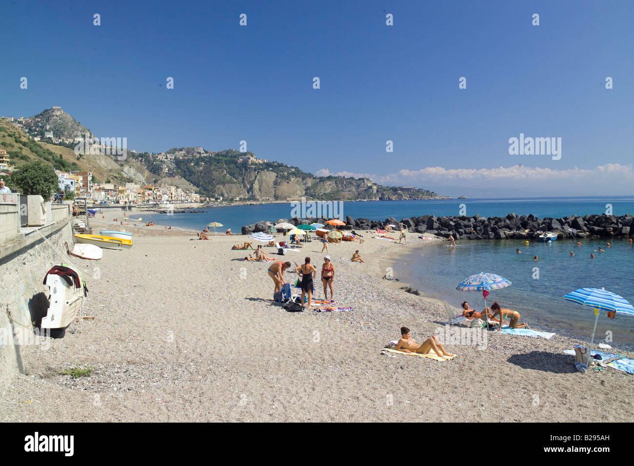 Beach giardini naxos near taormina sicily stock photo 18641465 alamy - B b giardini naxos economici ...