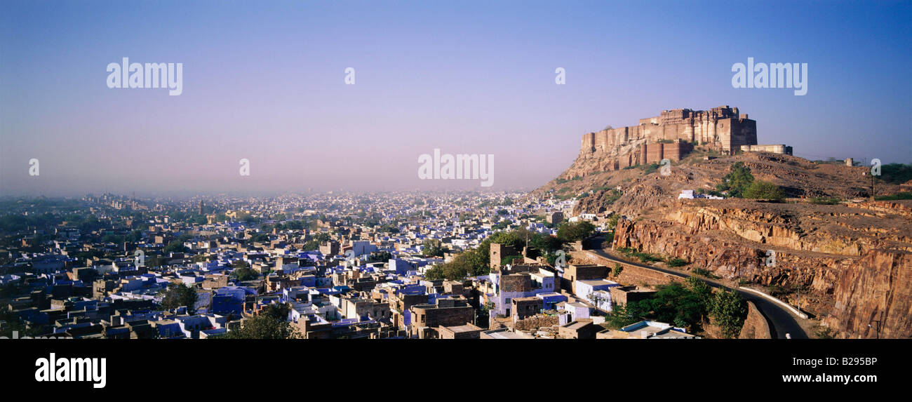 INDIA RAJASTHAN Jodhpur The Blue City with the Fort overlooking the City - Stock Image