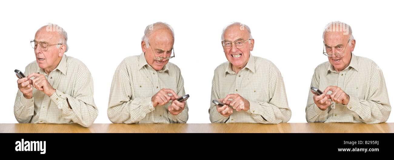 A sequence composite of an elderly man frustrated trying to text or use the mobile phone with the small buttons - Stock Image