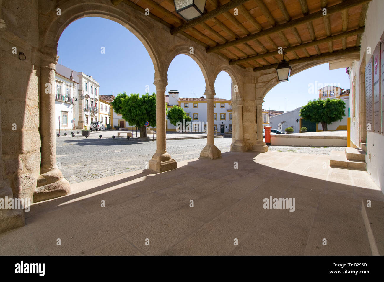 View of the Municipality Square of Crato (Portugal), seen from bellow the famous Grão-Prior Veranda. - Stock Image