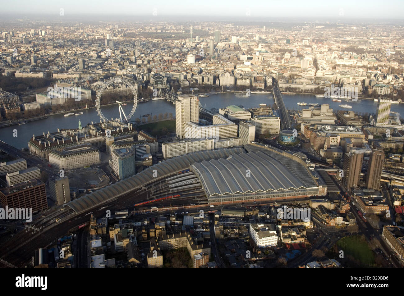 Waterloo station and London Eye Date 12 03 2008 Ref ZB648 111149 0061 COMPULSORY CREDIT World Pictures Photoshot - Stock Image