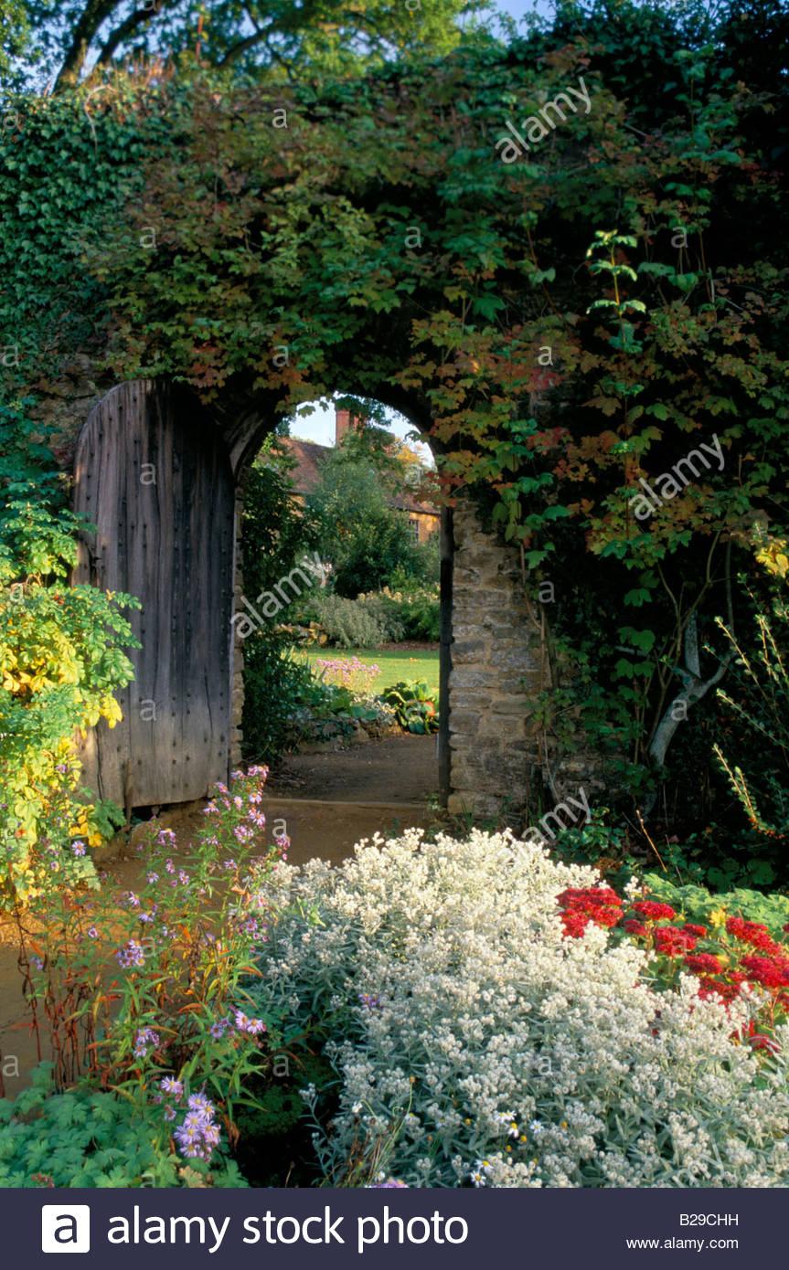 Munstead Wood Surrey Gertrude Jekyll Door in stone wall Summer ... on