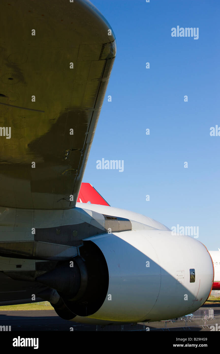 Airbus A380 aircraft Rolls-Royce Trent 900 engine portrait Copy Space - Stock Image