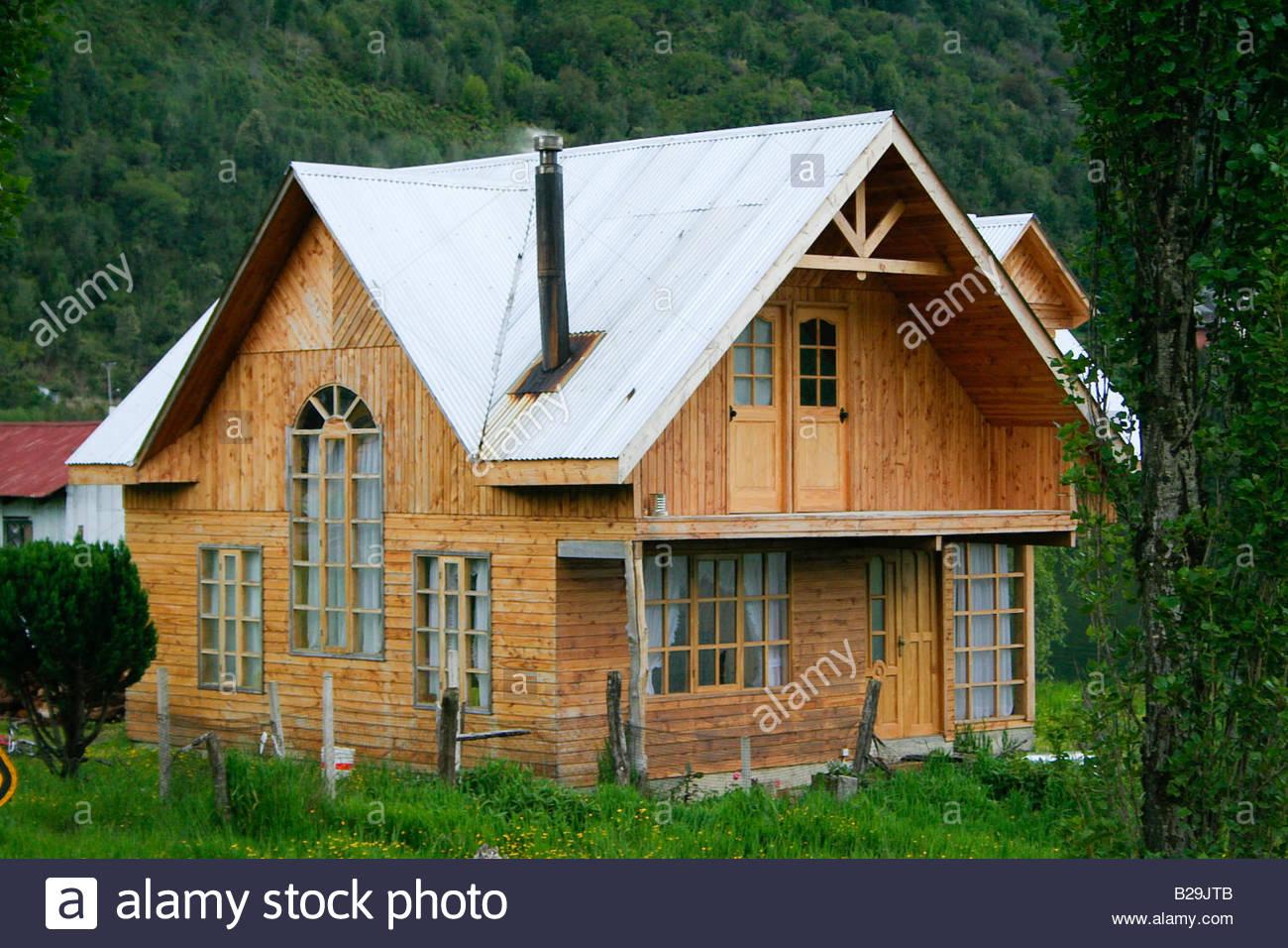 Wooden house / Puyuhuapi - Stock Image