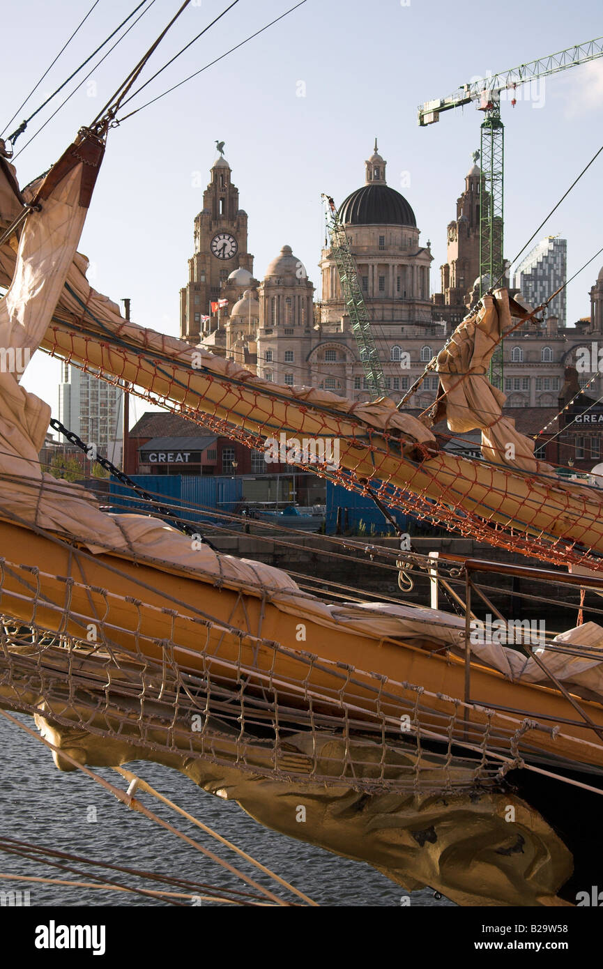 Tall Ships Race 2008, with the Royal Liver Building in the background, Liverpool, UK - Stock Image