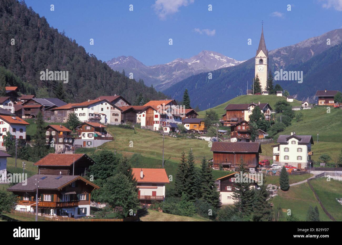 View of Schmitten Grisons Switzerland Stock Photo
