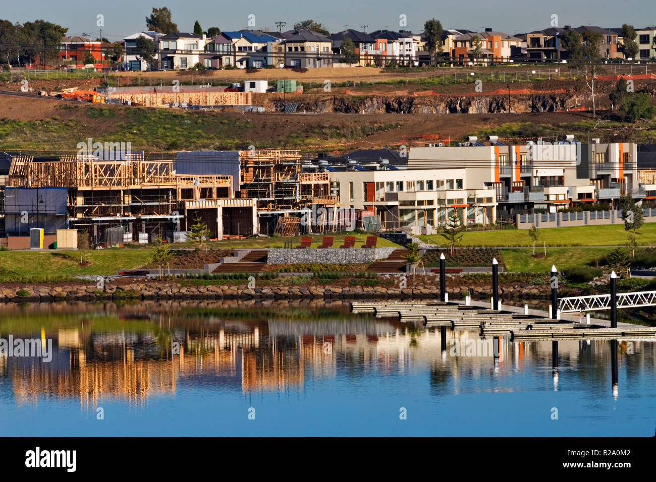 Building Industry /  A New Residential Housing Estate.Melbourne Victoria Australia. Stock Photo