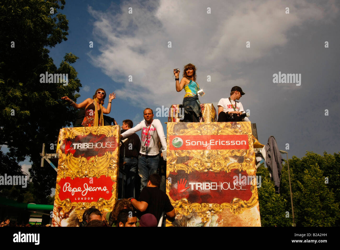 Raver on a float at Love Parade 2008 in Dortmund Germany Stock Photo