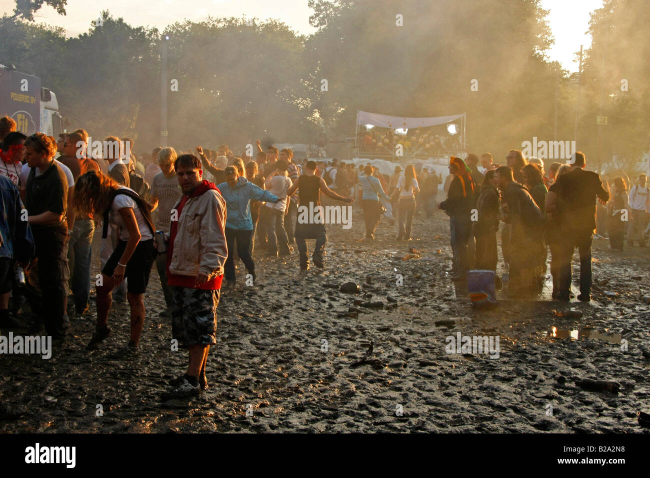 techno fans in the mud during Love Parade 2008 in Dortmund Germany Stock Photo