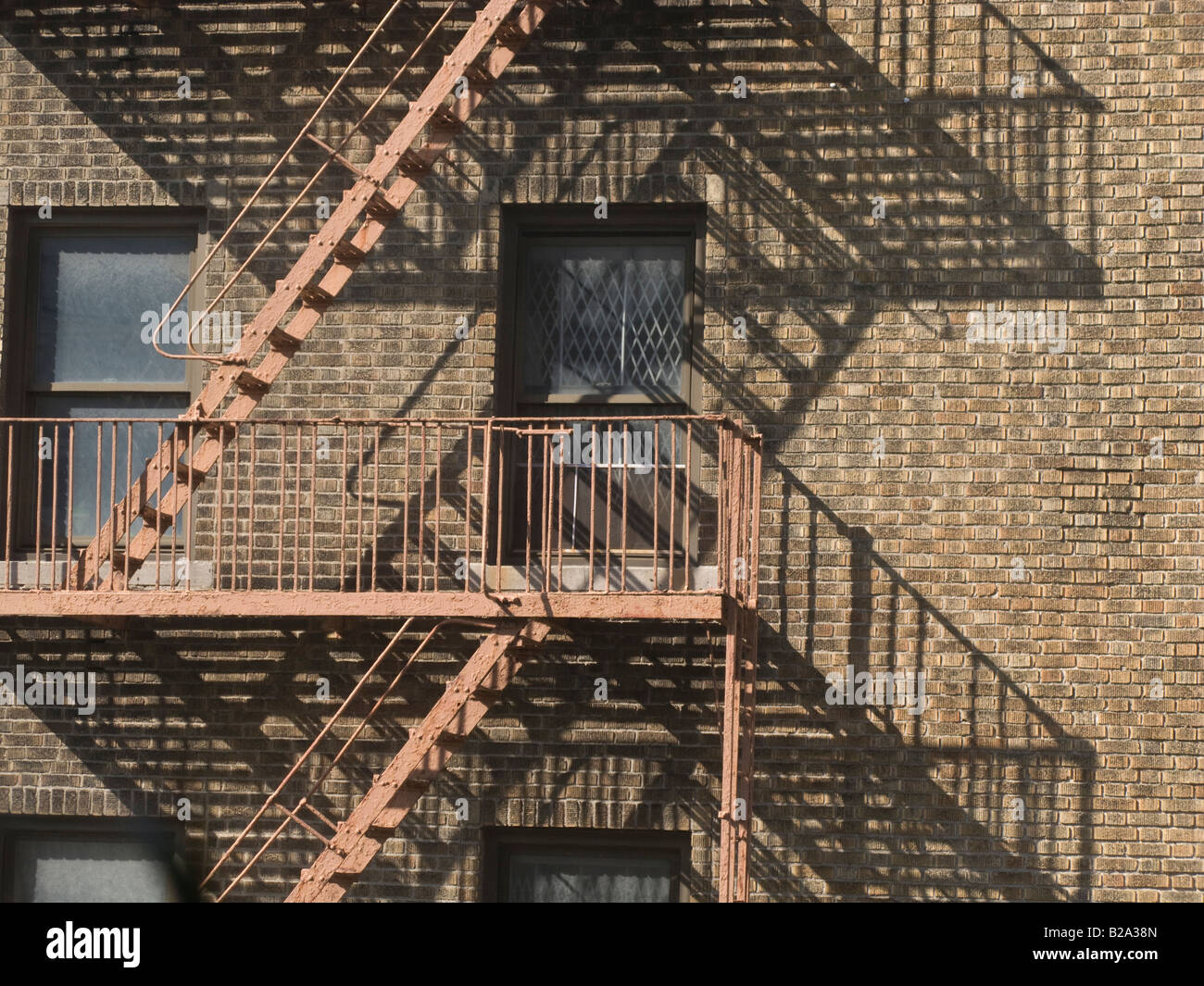 view of fire escapes on residential building - Stock Image