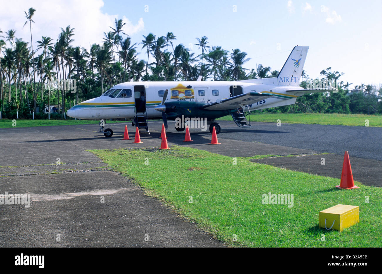 Airport and Airplane Taveuni Fiji Islands Stock Photo