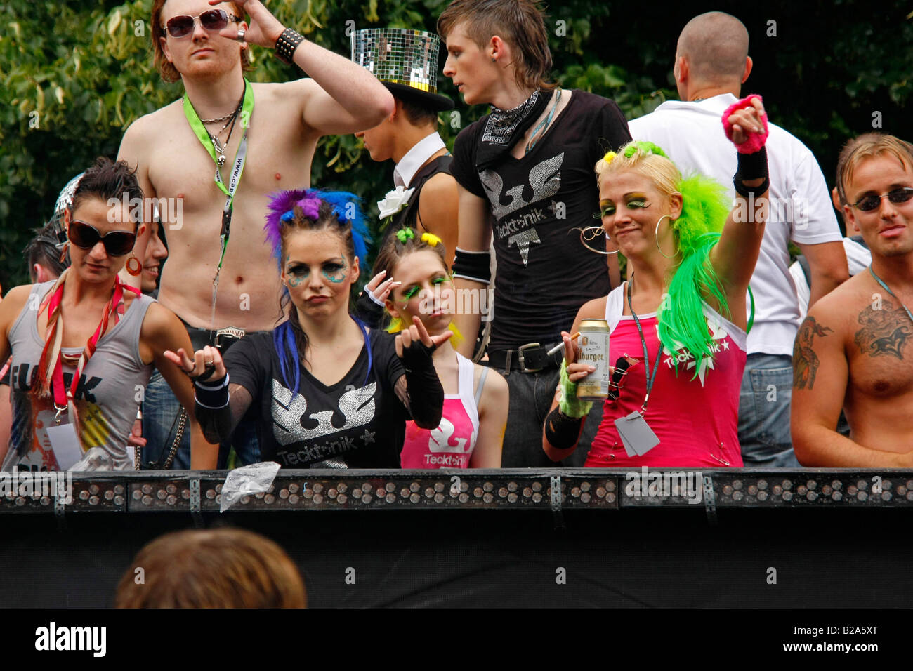 techno fans during The Love Parade 2008 in Dortmund Stock Photo