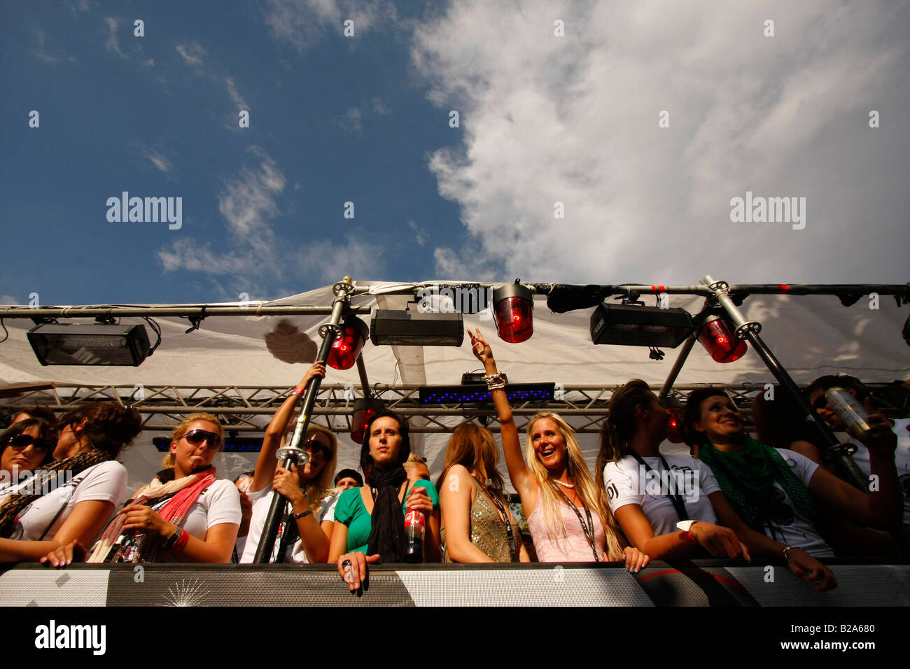 party people on a float  at the Love Parade 2008 in Dortmund Germany Stock Photo