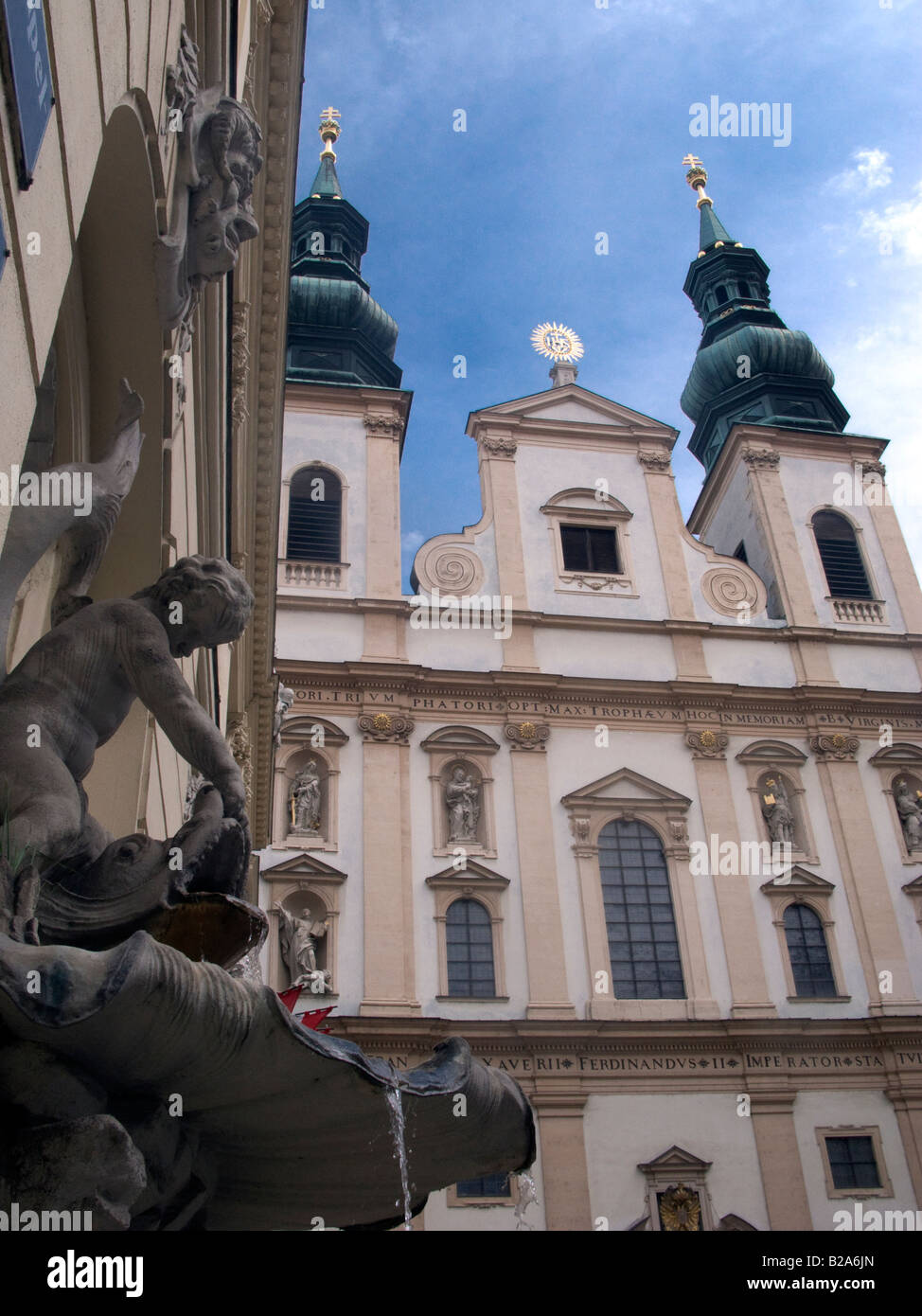 The 17thC Jesuit Church Vienna Austria Also known as the Church of the Franciscan Order - Stock Image