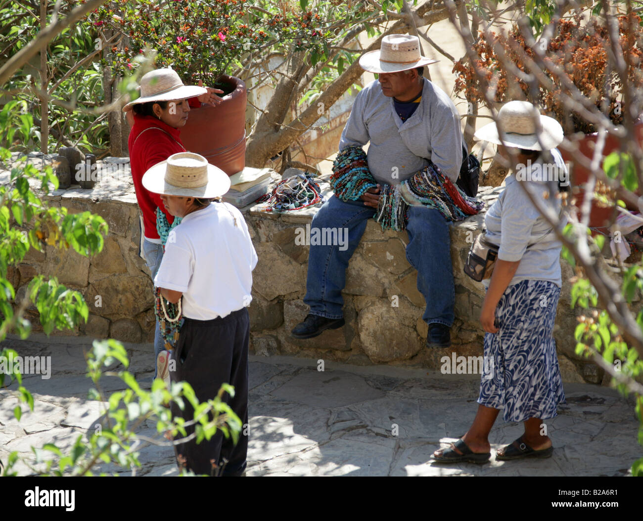 Mexican Bead Sellers, Monte Alban, Nr Oaxaca, Mexico Stock Photo