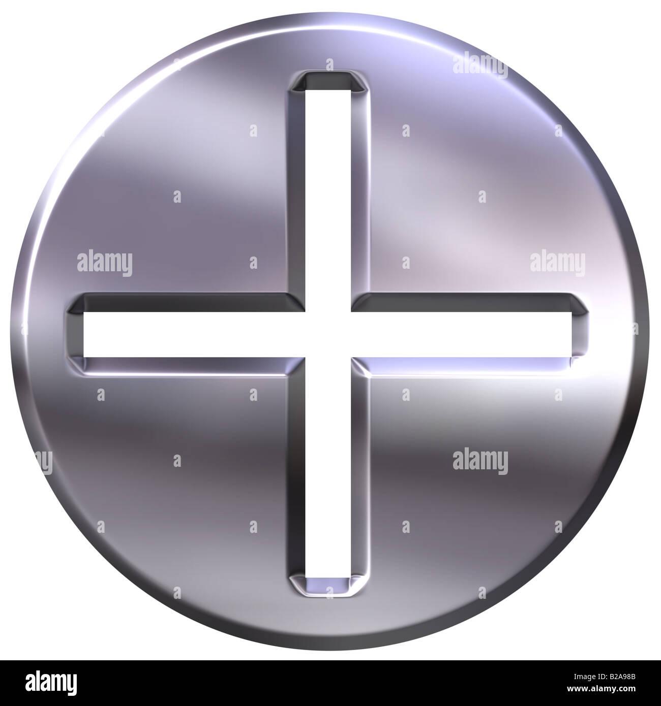 3d silver framed addition symbol - Stock Image