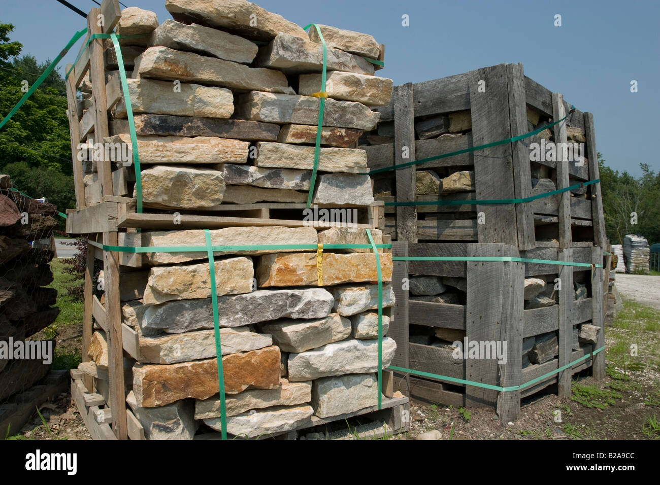 Landscaping stones are stacked and waiting for sale in the gardening supply  store yard - Landscaping Stones Are Stacked And Waiting For Sale In The Gardening