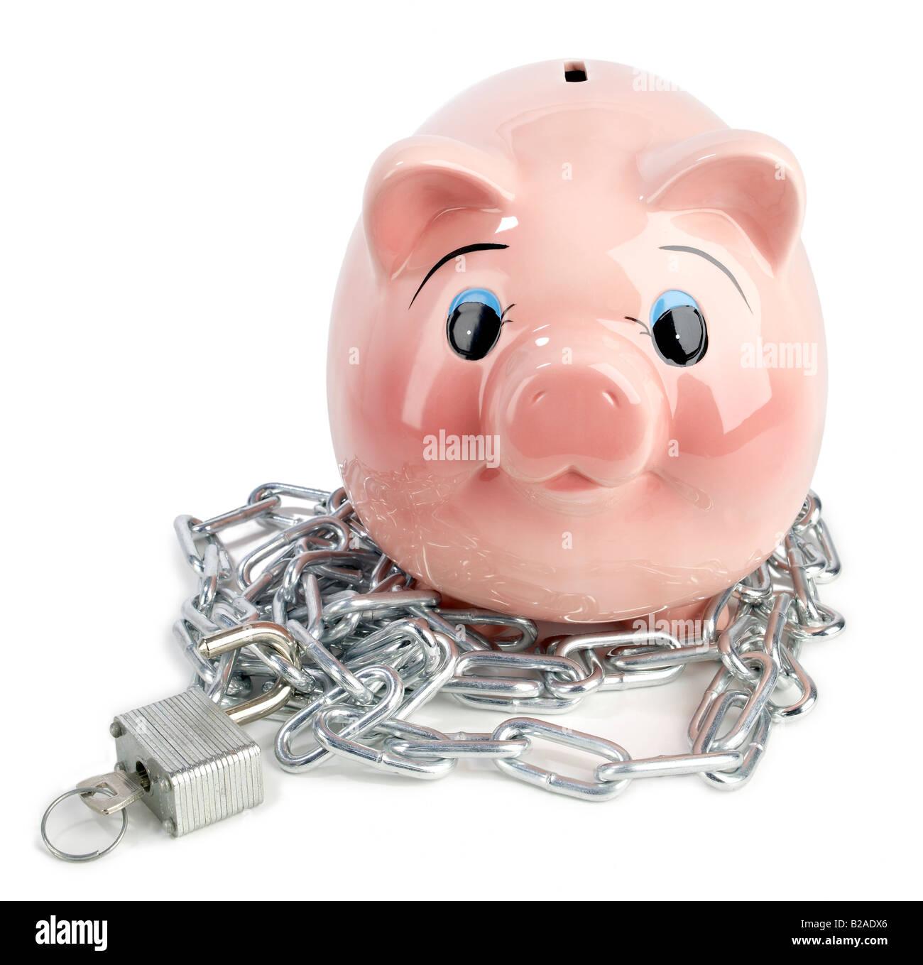 Piggy bank chain lock - Stock Image