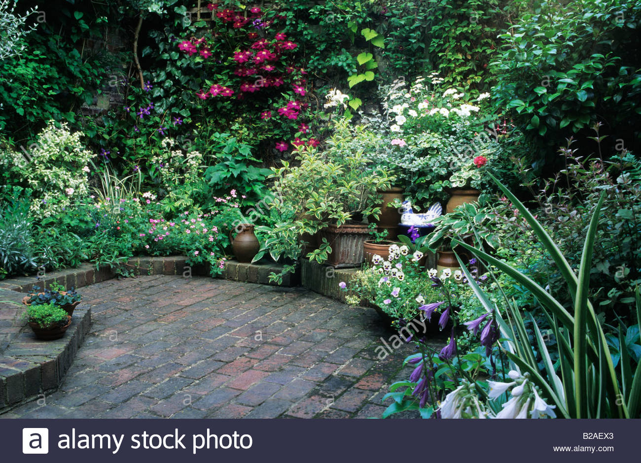 brighton small town garden patio with brick floor overview of narrow bed and area for potted plants - Patio Town