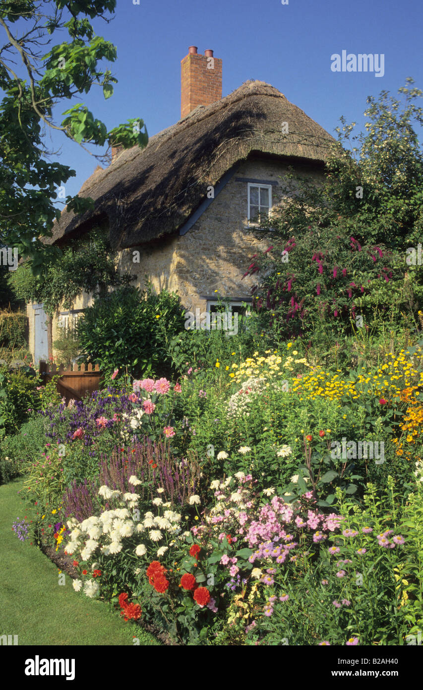Chiff Chaffs Dorset country cottage garden with herbaceous border in summer view through to thatched cottage - Stock Image