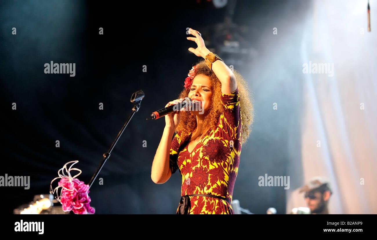 Brazilian singer Vanessa da Mata at the Paléo Festival, July 22nd 2008 in Nyon, Switzerland - Stock Image