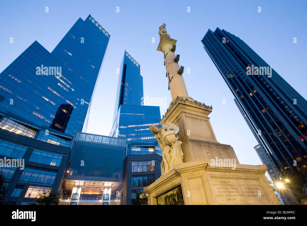 Columbus Circle Time Warner Center Trump Hotel at right, upper West Side New York City - Stock Image