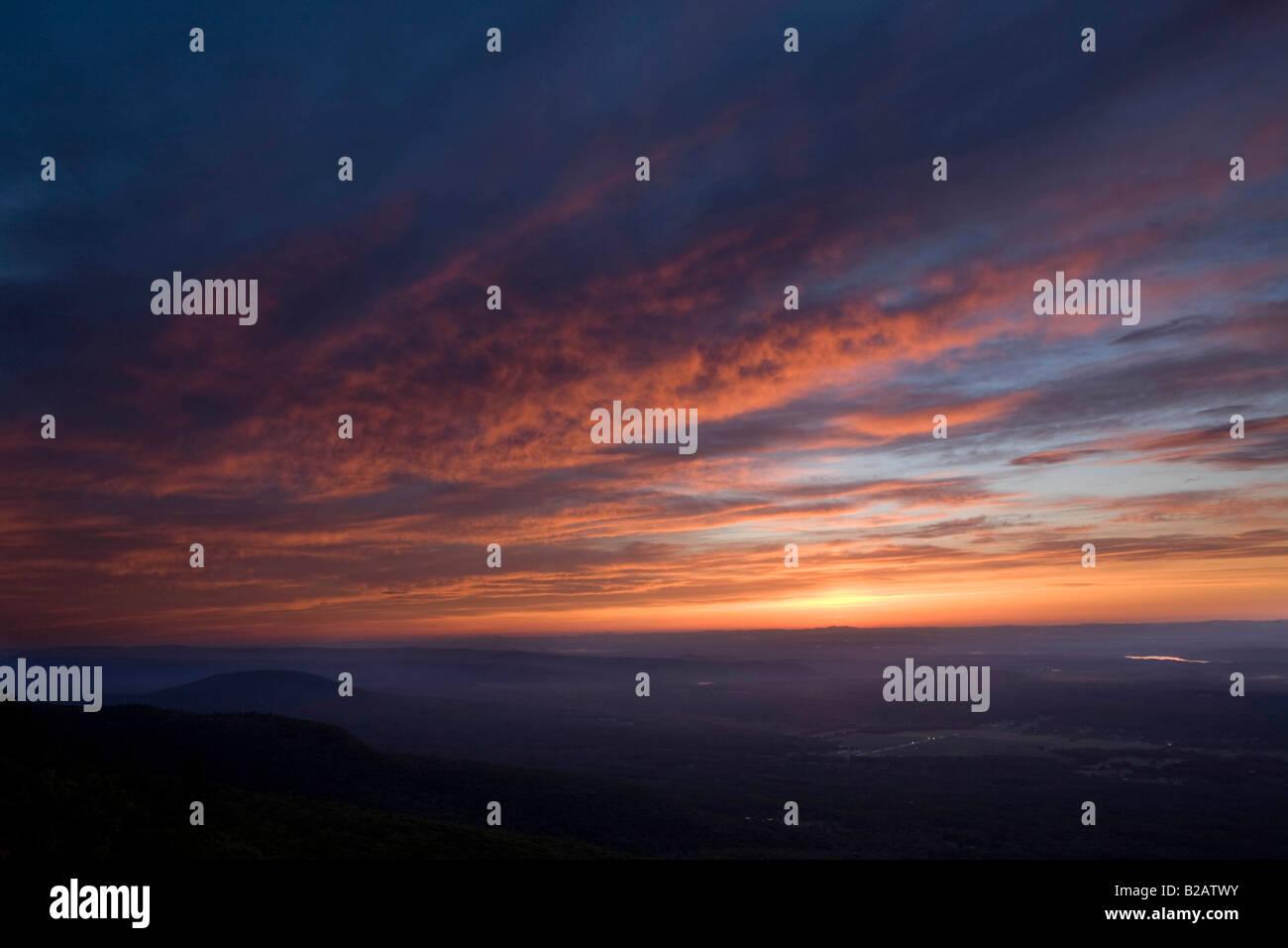 Hudson River Valley sunrise New York State - Stock Image