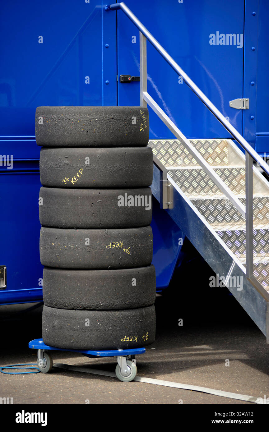 pile of part worn touring car raceing tyres - Stock Image