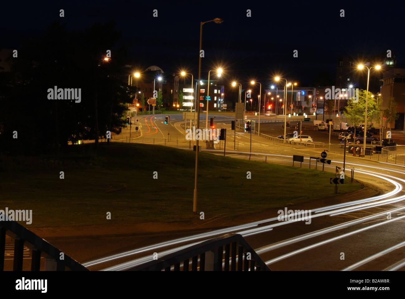 Dundee riverside roundbout night shot long exposure - Stock Image