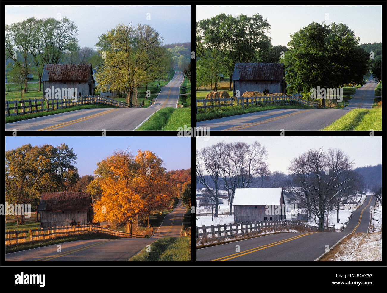 Four Seasons View of Country Road Through Rural Landscape in Washington  County Indiana - Four Seasons View Of Country Road Through Rural Landscape In Stock