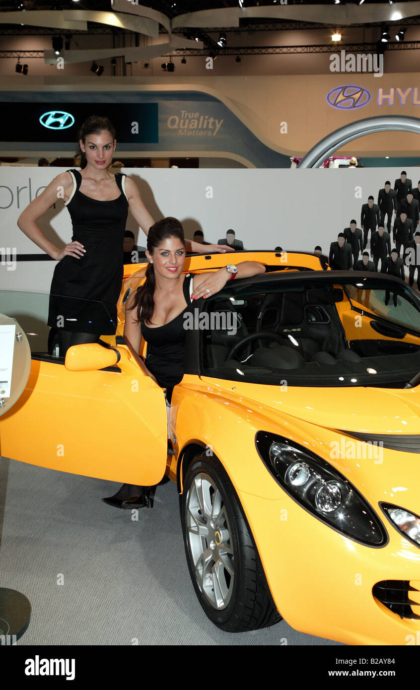 Two Beautiful Female Models Helping To Promoting The Lotus Elise At Stock Photo Alamy