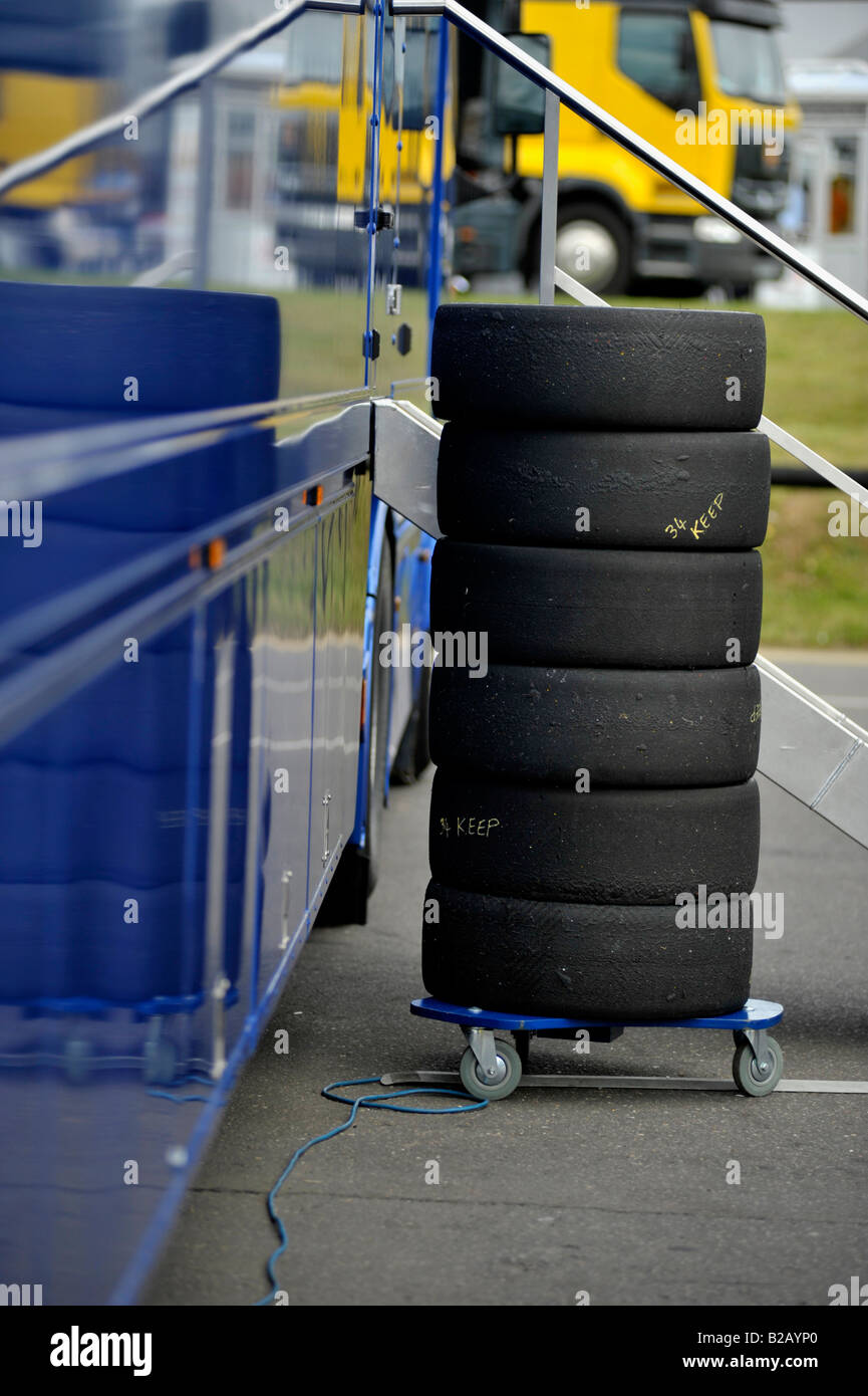 stack of part worn of tyres for touring car racing - Stock Image
