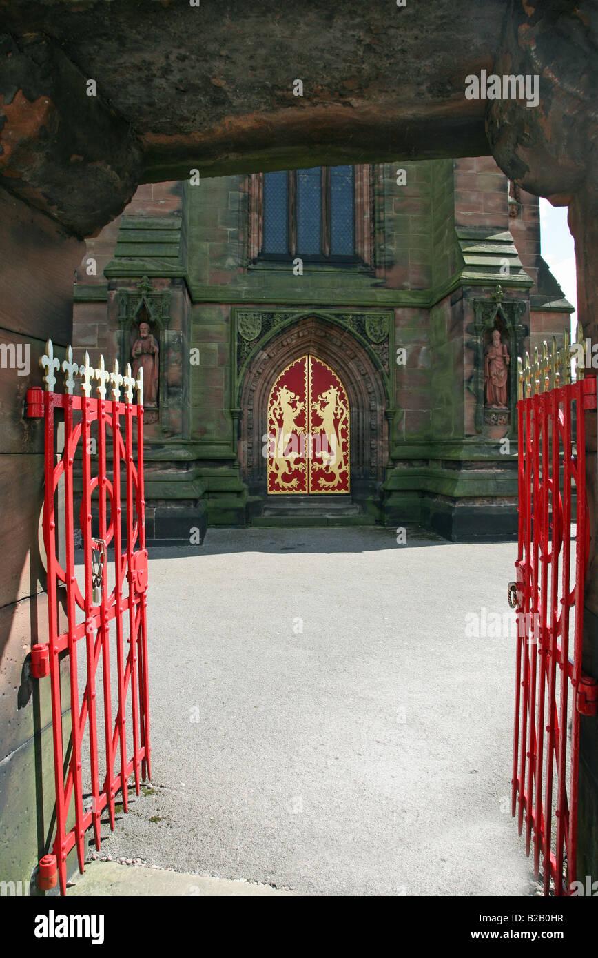 The Pugin designed St Giles' Giles parish church Cheadle Staffs - Stock Image