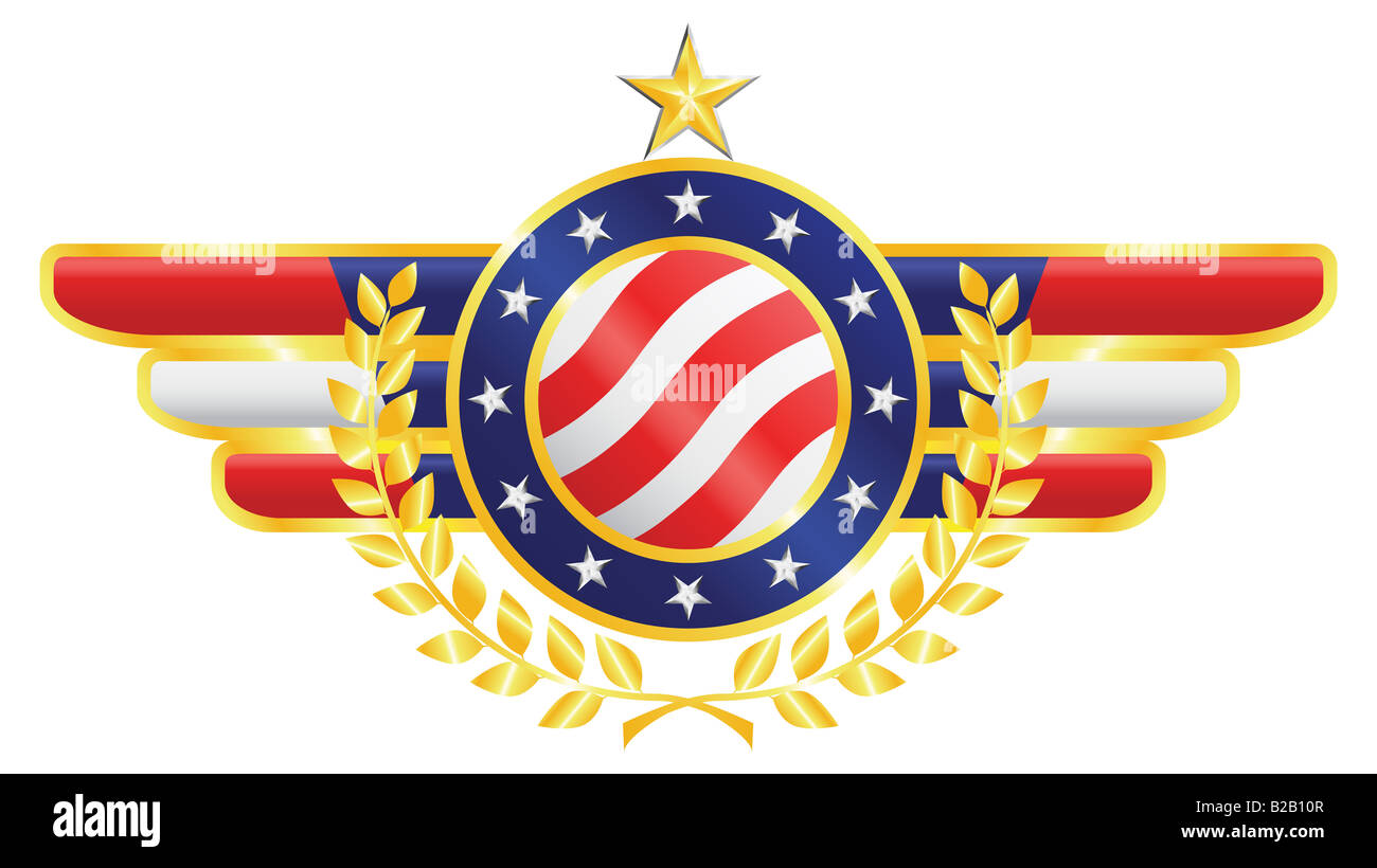 American patriotic emblem made of gold silver and silk with fragments of american flag stars olive branch - Stock Image