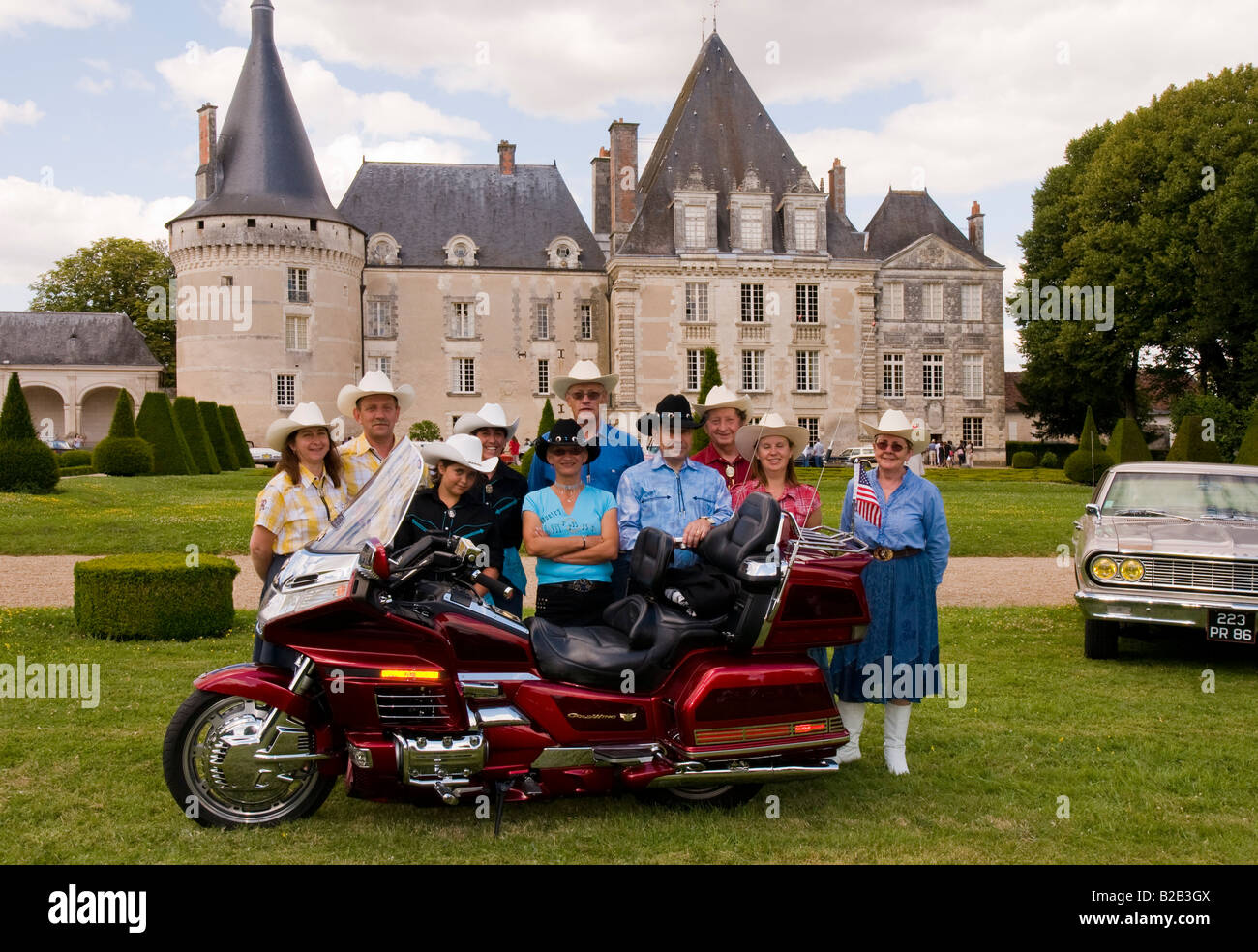 Honda Gold Wing Motorbike With Group Of Enthusiasts At American Car Show In The Park Chateau Azay Le Ferron Indre France