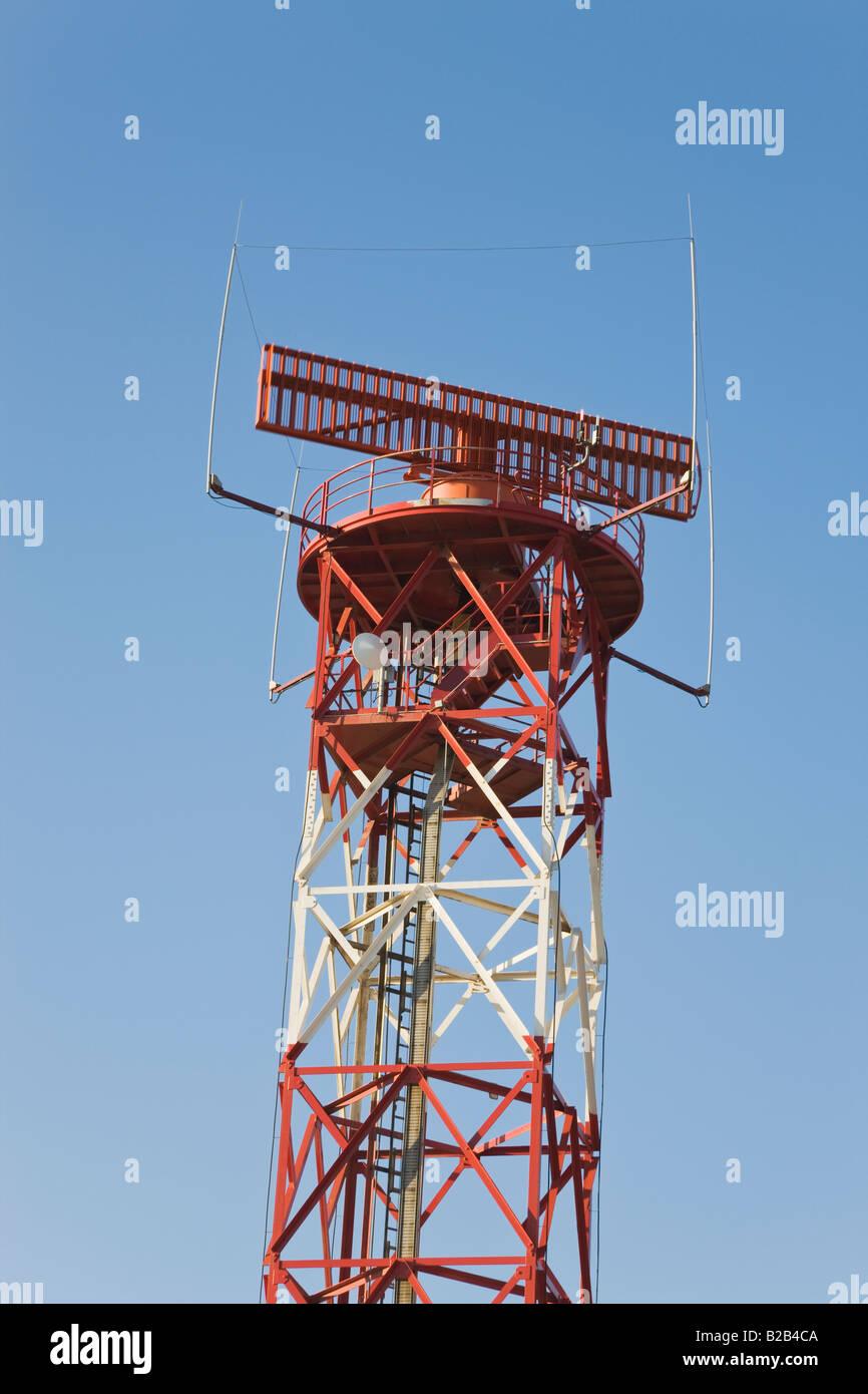 Radar tower at Malaga airport Spain - Stock Image